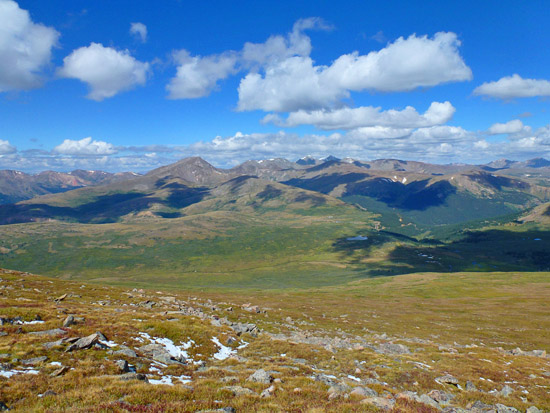 Looking west over Guanella Pass on the descent from Mt Bierstadt